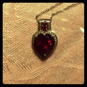 Jewelry - Lab created ruby heart pendant.